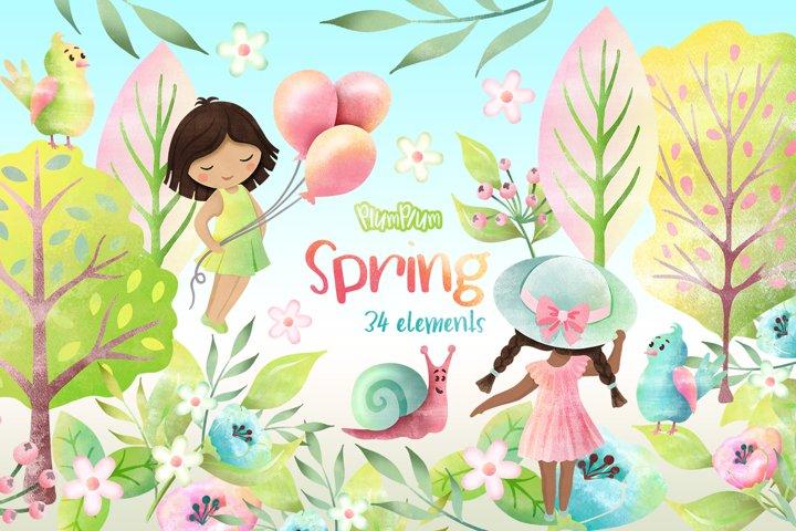 Spring Watercolor Cliparts