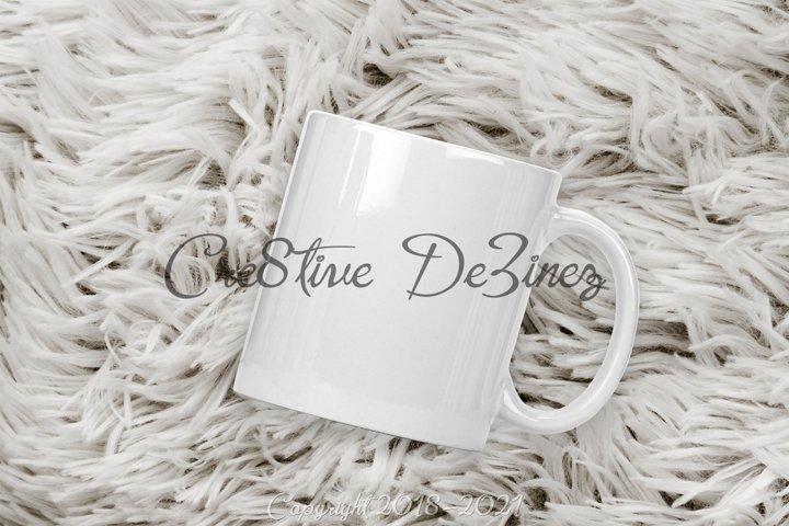 11 Ounce Coffee Mug Mock-Up on Fur, PSD PNG JPG White Mug
