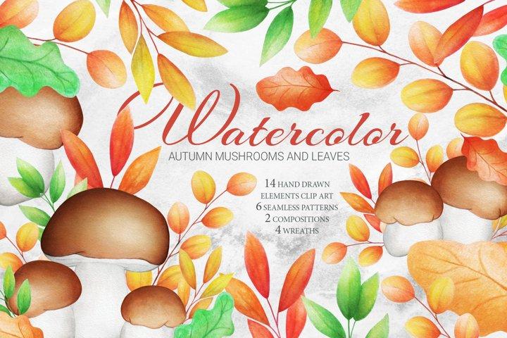 Hand Drawn Watercolor Mushrooms. Seamless Patterns. Wreaths