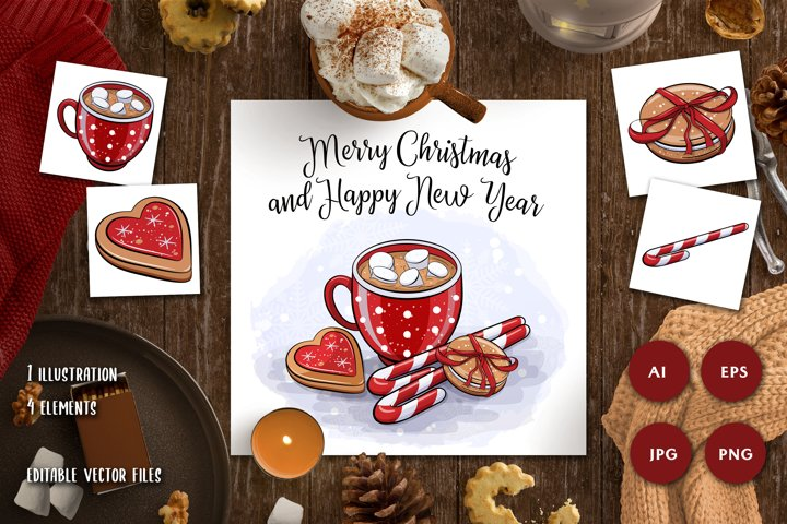 Sweets illustration set| Sublimation | Christmas