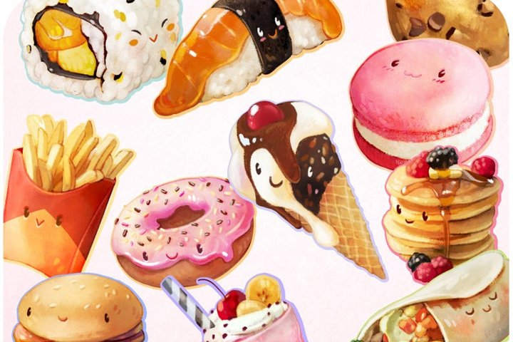 20 Comfort food clipart stickers set kids cartoon art