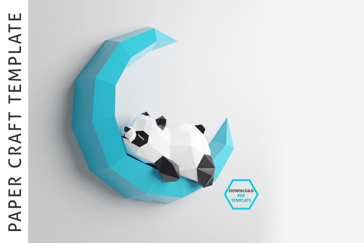 PDF Template of Panda on Moon/Sleeping Panda/Papercraft/3d