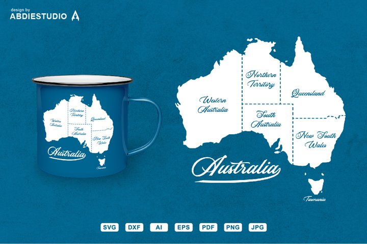Australia svg map with state border clip art illustration