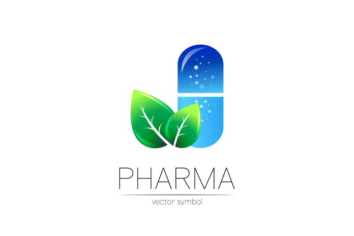 Pharmacy vector symbol with green leaf for pharmacist pharmf