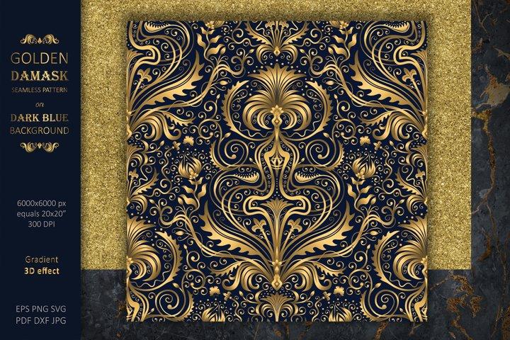 Gold Damask Pattern Wallpaper   Blue Background   Vector