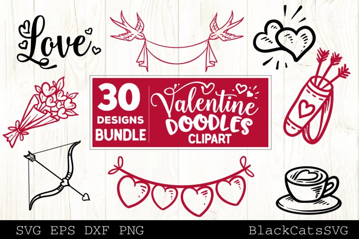 Valentine Doodles SVG bundle love clipart SVG 30 designs example 2