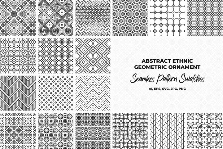 Abstract ethnic geometric seamless patterns