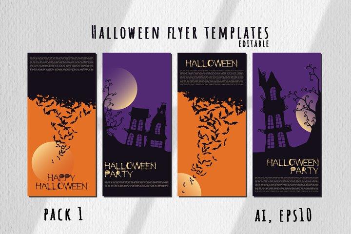 Halloween flyer templates editable. Pack 1