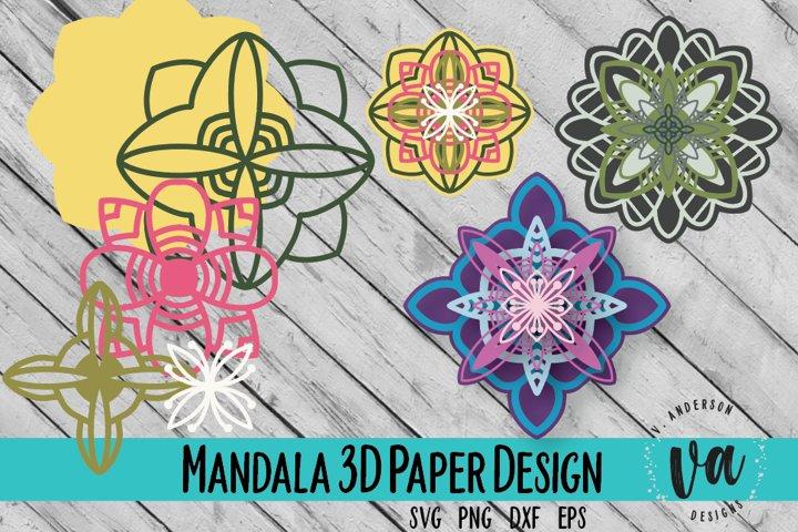 3D Layered Mandalas Cut File/SVG