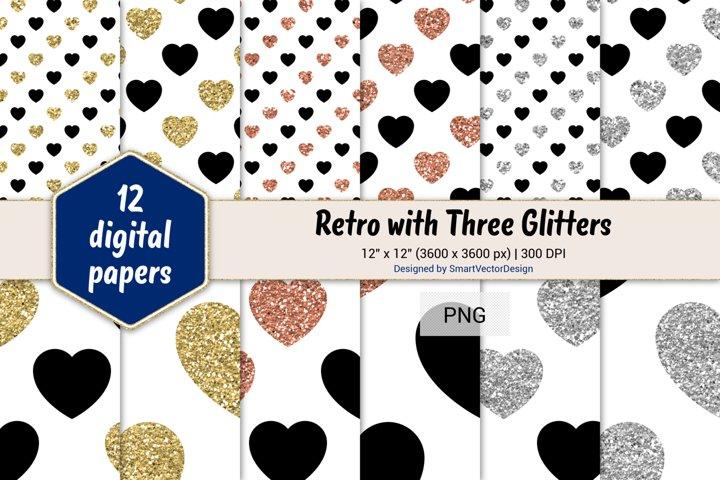 Hearts Retro with Three Glitters Color Combo #1