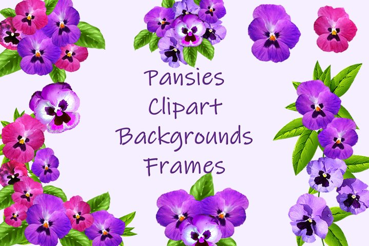 Pansies Clip Art, frames and backgrounds kit.