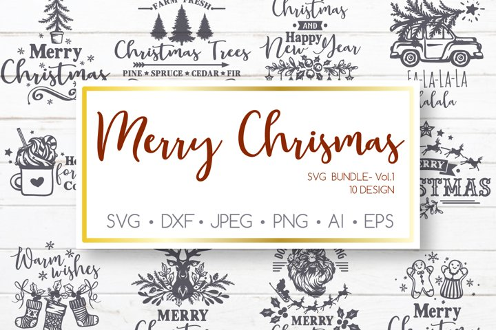 Christmas Bundle SVG file for Cricut, Vintage Christmas svg
