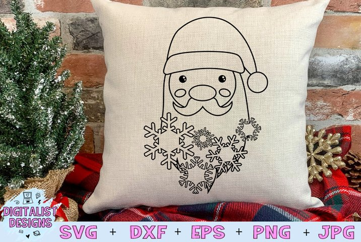 Santa Snowflake SVG, Christmas SVG, Snowflake SVG