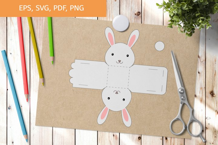 Cute Hare Gift Box Template SVG, Gift Box SVG