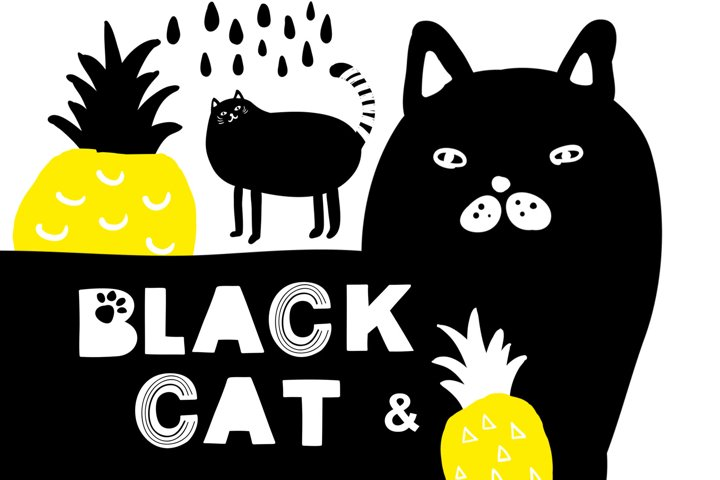 Black cat and pineapples