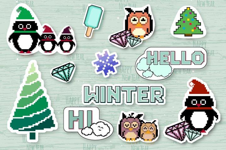 Christmas stickers, penguins, tree. Pixel art 8 bit.