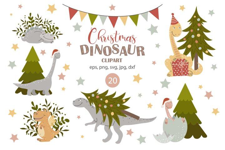 Christmas dinosaur clipart svg, baby Dino, Christmas tree