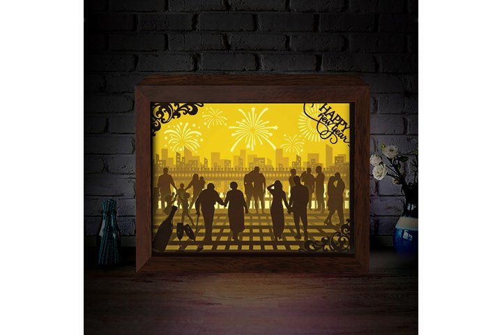 HAPPY NEW YEAR 1 3D Paper Cutting Light Box - Shadow Box