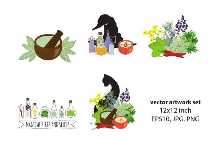 witch necessary kit- VECTOR ARTWORK SET
