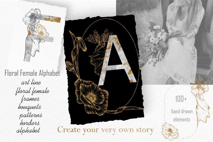 Floral Female Alphabet alphabet, monograms, bundle, Line Art