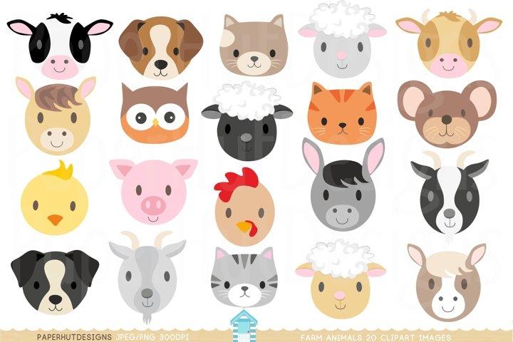 Farm Animal Faces Clipart