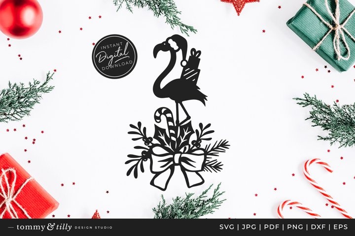 Christmas Flamingo - SVG DXF PNG EPS JPG PDF Paper Cutting