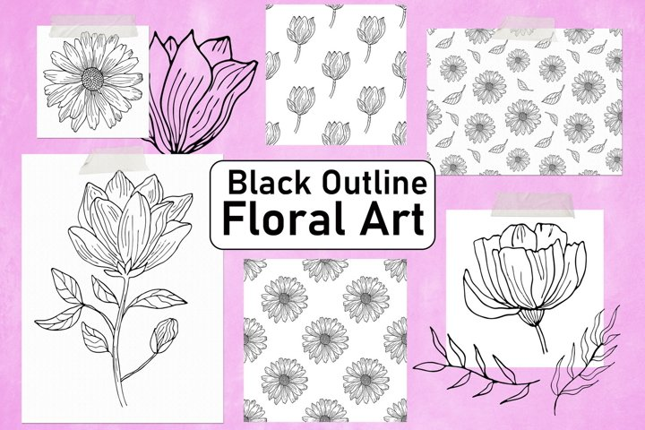Black Outline Flowers Clipart & Digital Paper