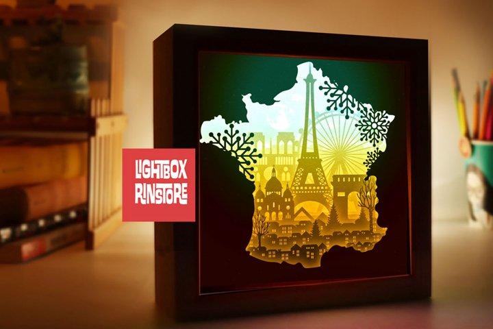 #128 France Paris- Paper cut light box template, die cut