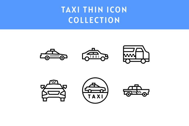 set of Taxi thin line icon illustration