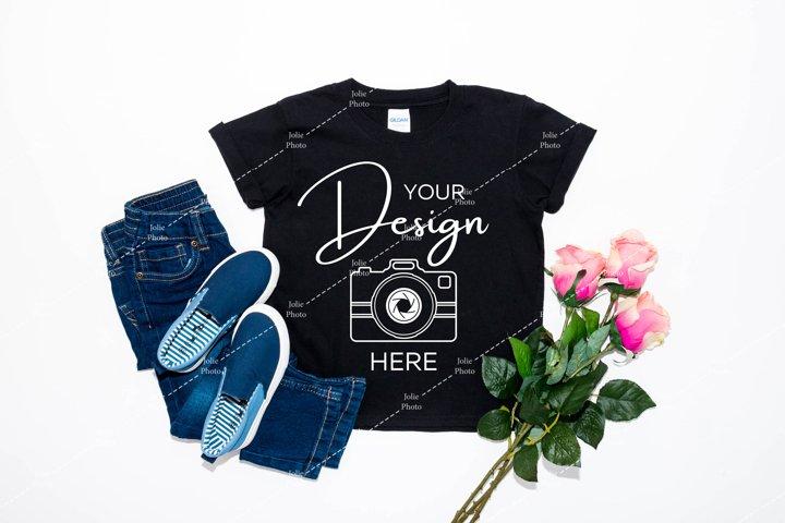 Gildan Kids Mockup 64500B Softstyle Black T-Shirt Mock Up