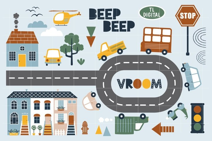 Little Cars and Houses Clipart Set - 73 PNG Graphics