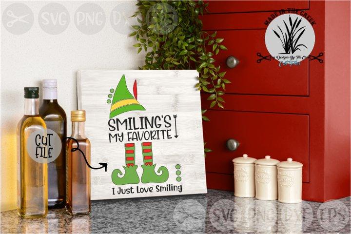 Smiling Is My Favorite, Elf Hat, Christmas, Cut File, SVG