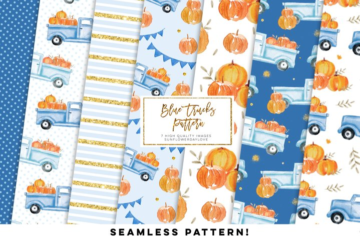 Blue Pumpkin Truck Pattern, Autumn Truck Digital Pattern