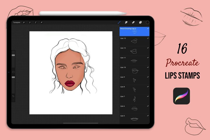 Lip Stamp Brushes For Procreate