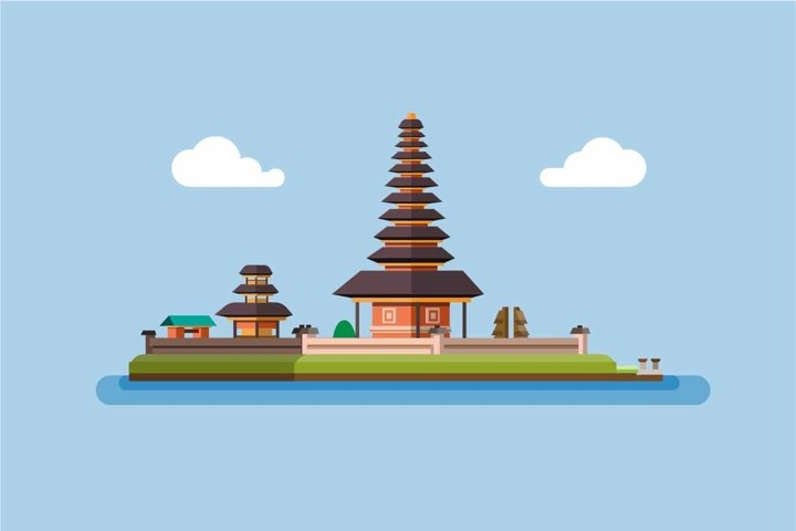Ulun Danu Bratan Temple Bedugul Famous Landmark Bali Island