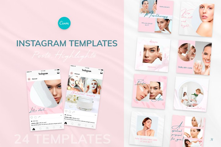 Beauty Pink Instagram Canva Tempates Post & Highlights