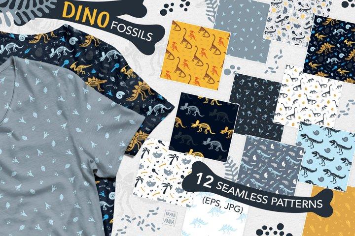 Dinosaur fossils patterns set