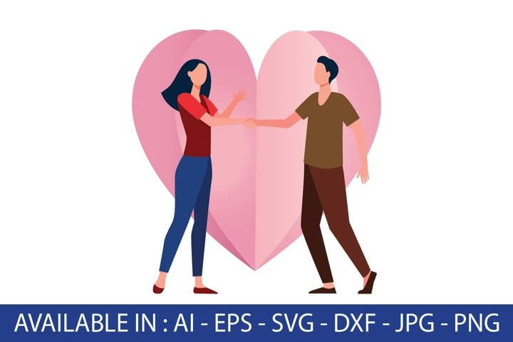 valentine and couple in love flat illustration