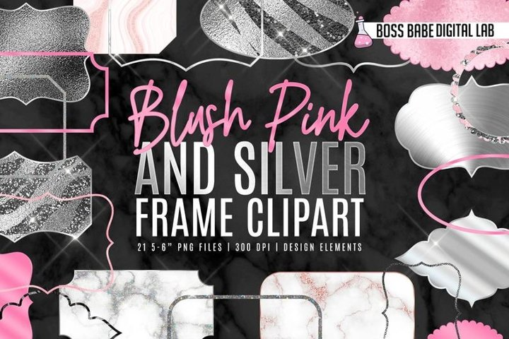 Blush and Silver Frame Clipart