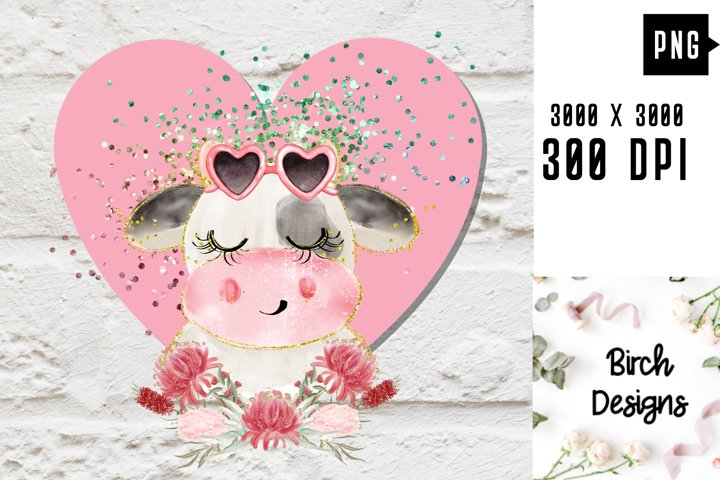 Valentines Cow Pink Heart PNG Sublimation Clipart