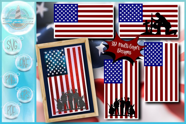 3D Layered Design | USA Flag with Soldiers SVG file