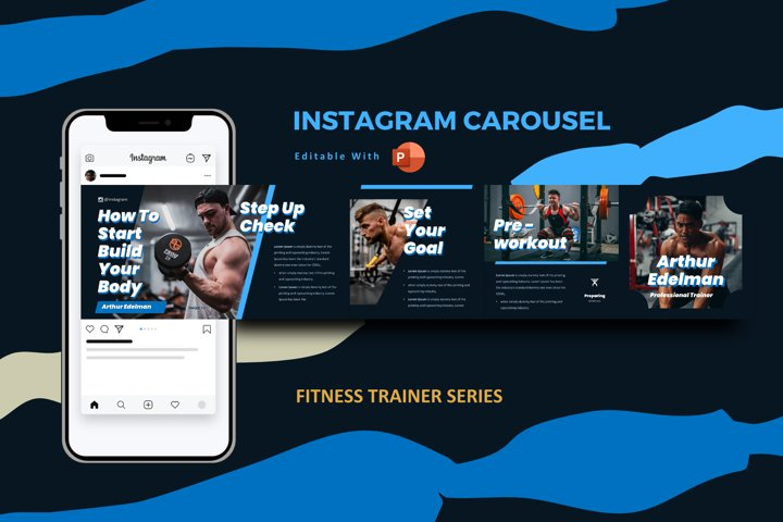 Gym trainer instagram carousel powerpoint template