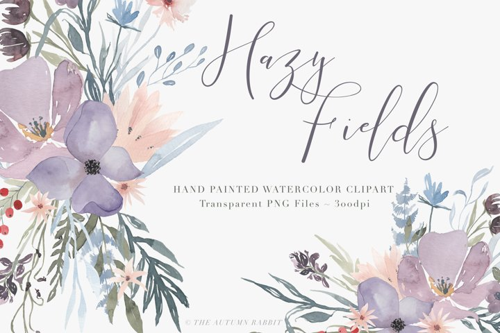 Watercolor Floral Clipart - Hazy Fields - Free Design of The Week Font