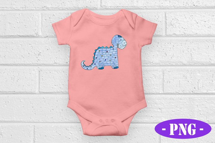 Blue Dinosaur PNG | Kids Design | Hand Drawn |Sublimation