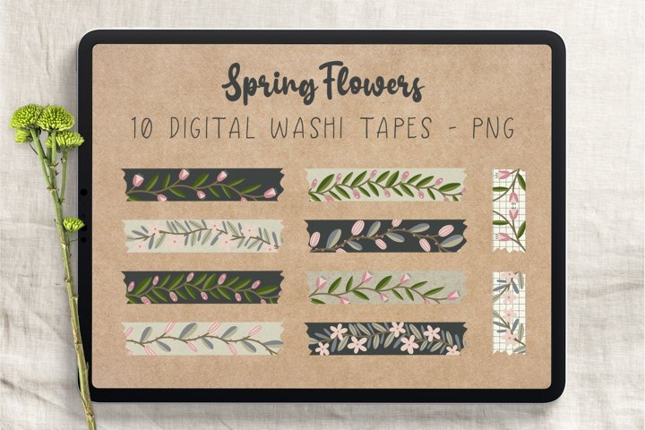Spring Flowers Digital Washi Tapes
