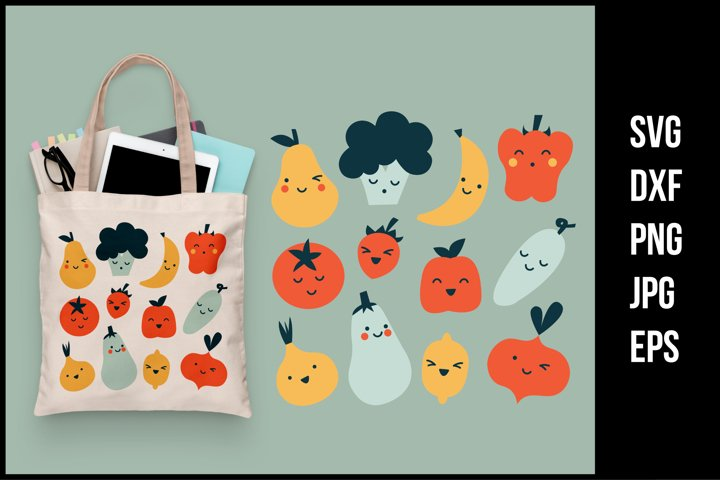 Cute fruits and vegetables - SVG Cut Files