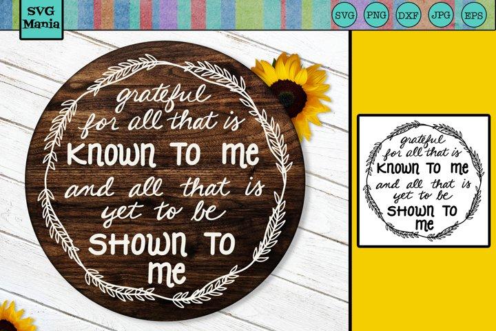 Round Inspirational SVG File, Grateful SVG, Thanksgiving SVG