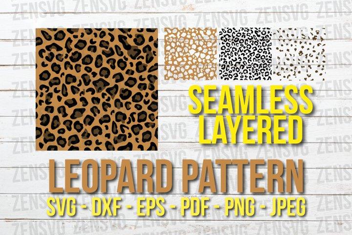 Leopard Seamless Layered SVG Pattern Cut File