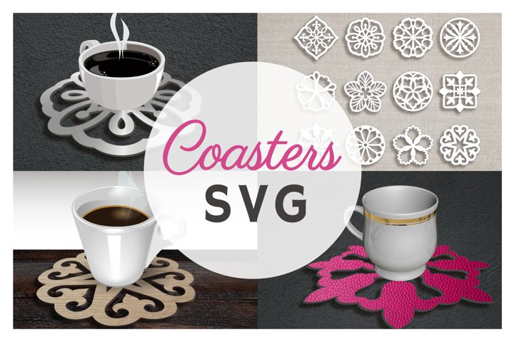 12 Coaster Set SVG Files For Cricut Handmade Coaster Flower