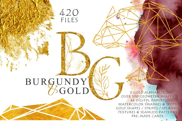 Burgundy & Gold Watercolor Graphic Set